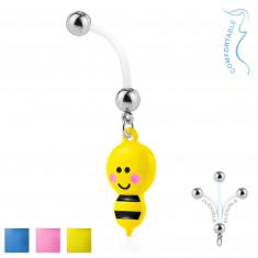 Piercing all'ombelico in bioflex - perlina in acciaio, un'ape con una puntura