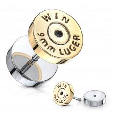 """Plug falso all'orecchio in color argento - cerchio piatto a forma dorata, segno """"WIN"""""""
