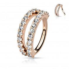 Piercing in  metallo a forma di anello - incastonato con zirconi chiari