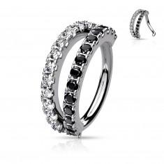 Piercing in color argento placcato con platino - zirconi in chiaro e nero, forma rotonda