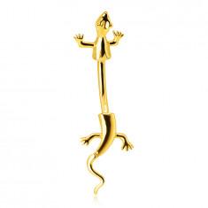 Piercing all'ombelico, in oro 585 - lucertola strisciante con coda in movimento