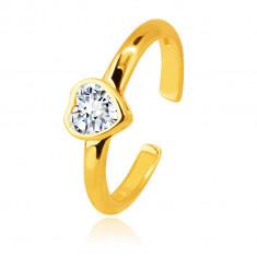 Piercing all'orecchio, in oro 14K - anello ornato con zircone in montatura a forma di cuore