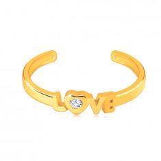 """Anello in oro giallo 585 con lati aperti - scritta """"LOVE"""", zircone chiaro rotondo nel cuore"""