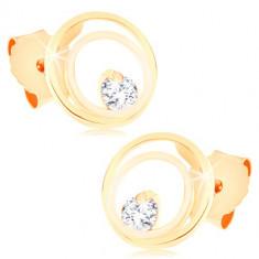 Orecchini in oro 9k - anelli sottili uniti e ornati con zircone brillante, chiusura a bottone