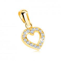 Ciondolo in oro 9K - contorno a forma cuore inciso con zirconi chiari rotondi