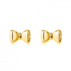 Orecchini a bottone in oro 14K - arco, superficie liscia e molto brillante