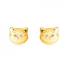 Orecchini in oro 14K - testa di gatto con occhi in zircone rotondo