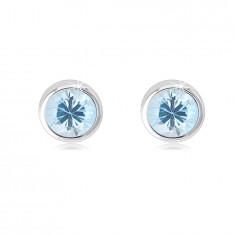 Orecchini in oro bianco 14K - zircone blu chiaro in montatura rotonda, chiusura bottone