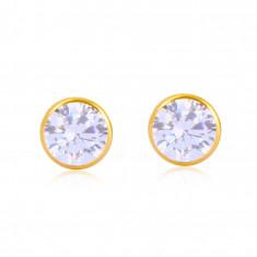 Orecchini in oro giallo 14 - zircone rotondo in viola chiaro, chiusura a bottone