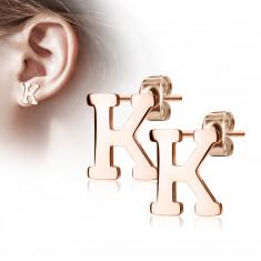 """Orecchini in acciaio colore rame - lettera dell'alfabeto """"K"""", chiusura a bottone"""