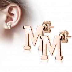 """Orecchini in acciaio colore rame - lettera dell'alfabeto """"M"""", chiusura a bottone"""
