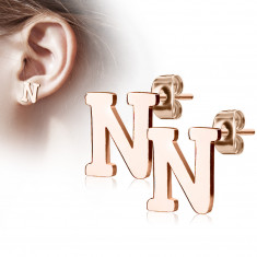 """Orecchini in acciaio colore rame - lettera dell'alfabeto """"N"""", chiusura a bottone"""