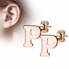 """Orecchini in acciaio colore rame - lettera dell'alfabeto """"P"""", chiusura a bottone"""