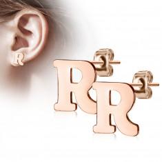 """Orecchini in acciaio colore rame - lettera dell'alfabeto """"R"""", chiusura a bottone"""