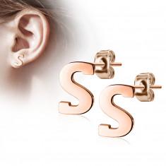 """Orecchini in acciaio colore rame - lettera dell'alfabeto """"S"""", chiusura a bottone"""