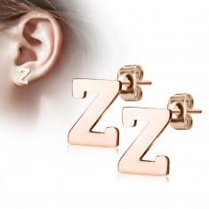 """Orecchini in acciaio colore rame - lettera dell'alfabeto """"Z"""", chiusura a bottone"""