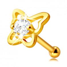 Piercing al naso, in oro 14K - contorno farfalla con zircone chiaro, rotondo, 2 mm