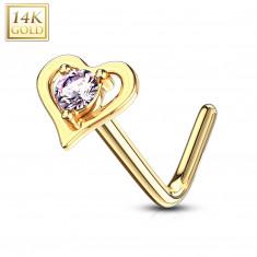 Piercing curvo al naso, in oro giallo 14K - contorno forma cuore con zircone rosa