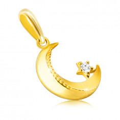 Ciondolo in oro 14K - luna con bordi smussati, zigrinatura, piccolo zircone rotondo