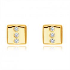 Orecchini in oro 14K - rettangolo con tre zirconi chiari, rotondi, chiusura a bottone