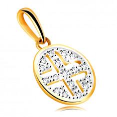 Ciondolo in oro giallo 585 - cerchio ornato con zirconi rotondi, placcatura nera