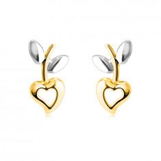 Orecchini in oro combinato 14K - cuore con ritaglio, gambo con foglie, chiusura a bottone