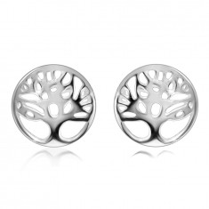 Orecchini in argento 925 - albero della vita in un cerchio con ritaglio, superficie molto brillante