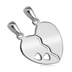 Ciondolo doppio in argento 925 - cuore diviso con ritaglio di due piccoli cuori