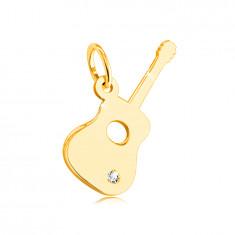 Ciondolo in oro giallo 14K - chitarra con zircone chiaro nella parte di sotto
