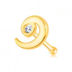 Piercing in oro giallo 14K, forma dritta - spirale con diamante chiaro