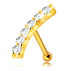 Piercing dritto al naso, in oro giallo 14K - striscia curva con diamanti chiari