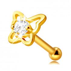 Piercing al naso, in oro giallo 14K - contorno farfalla con diamante, 1,5 mm