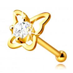 Piercing al naso, in oro giallo 14K, con diamante - contorno farfalla con diamante, 2,0 mm