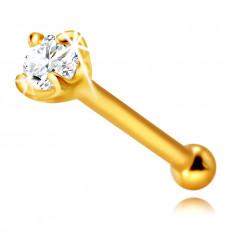 Piercing al naso in oro giallo 585, con diamante, dritto - diamante brillante in montatura, 1,75 mm