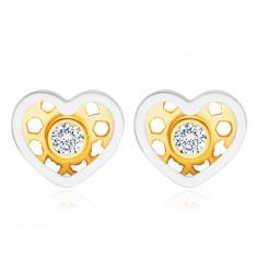 Orecchini in oro combinato 14K - cuore, diamante chiaro, brillante