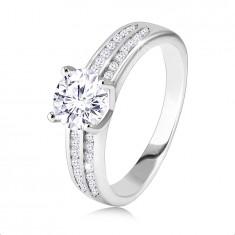 Anello di fidanzamento in argento 925 - due linee in zircone, zircone rotondo, brillante nel centro