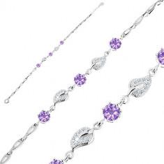 Bracciale in argento 925 - foglie in zircone, zirconi viola, maglie a forma di lacrima