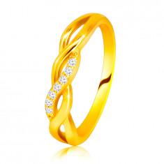 Anello brillante in oro giallo 14K - increspature intrecciati, linea in diamanti