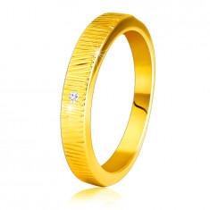 Anello in oro giallo 14K, con diamante - intagli sottili decorativi, diamante chiaro, 1,5 mm