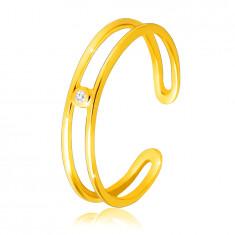 Anello in oro giallo 14K - lati sottili ed aperti, diamante chiaro