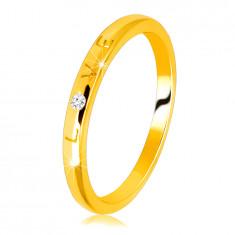 """Fede in oro giallo 14K - scritta """"LOVE"""" con diamante, superficie liscia, 1,5 mm"""