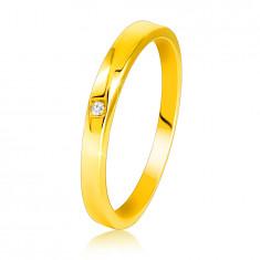 Anello in oro giallo 14K - lati leggermente smussati, diamante chiaro