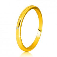 Anello in oro giallo 14K - lati sottili, lisci, diamante chiaro