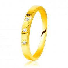 Anello in oro giallo 585 - lati brillanti, tre diamanti brillanti