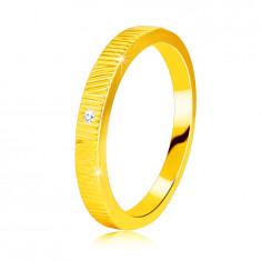 Anello in oro giallo 14K, con diamante - intagli sottili, diamante chiaro, 1,3 mm