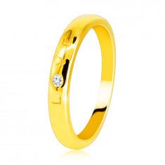 """Fede in oro giallo 585 - scritta  """"LOVE"""" con diamante, superficie liscia, 1,6 mm"""