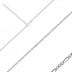 Catena in argento 925 - modello Figaro, bordi brillanti e smussati, 1,6 mm