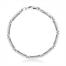 Bracciale in argento 925 - maglie rettangolari a strisce sottili, chiusura a moschettone