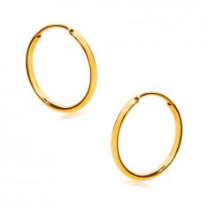 Orecchini in oro giallo 585 - cerchi fini, superficie brillante arrotondata, 12 mm