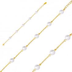 Bracciale in acciaio colore dorato, palline perlacei sulla catena